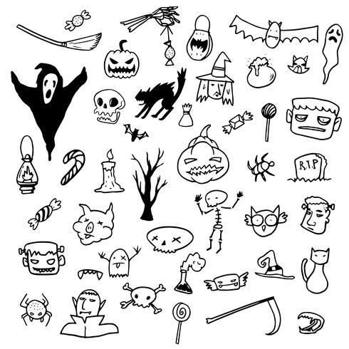 Halloween Doodle Draw Horror grafische elementen vector