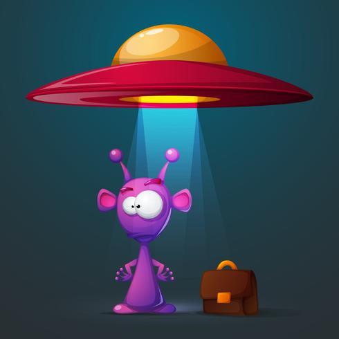 Grappige, schattige alien met groot oog en oor vector