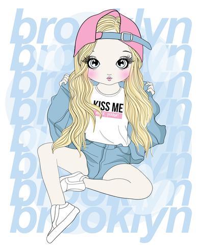 Hand getekend schattig meisje dragen van shorts en hoed met Brooklyn typografie vector