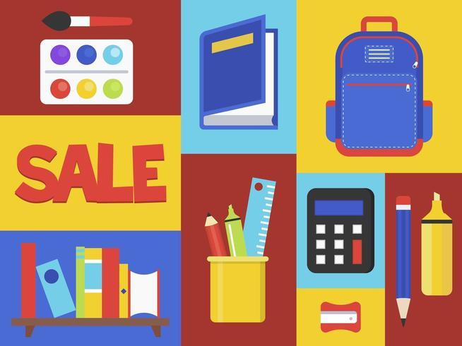 Terug naar school verkoop, schoolbenodigdheden vector