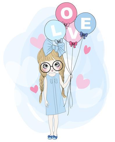 Hand getekend schattig meisje houdt van ballonnen met LIEFDE tekst vector