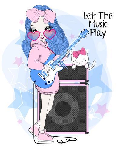 Hand getekend schattig meisje elektrische gitaar spelen met kat vector
