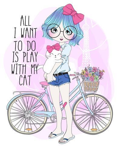 Hand getekend schattig meisje met fiets en kat vector