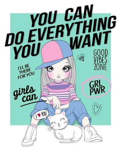 Hand getekend schattig meisje met tekst doodles en kat vector