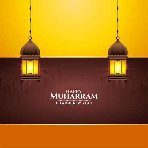 Gelukkig Muharran-helder ontwerp met lantersn vector