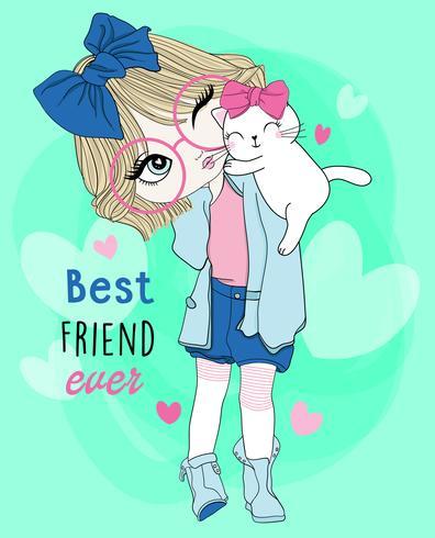 Hand getekend schattig meisje draagt een bril met beste vriend kat vector