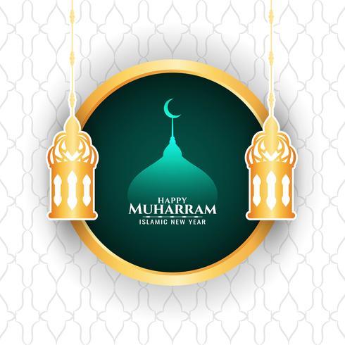 Gelukkig Muharran met lantaarn en moskee vector