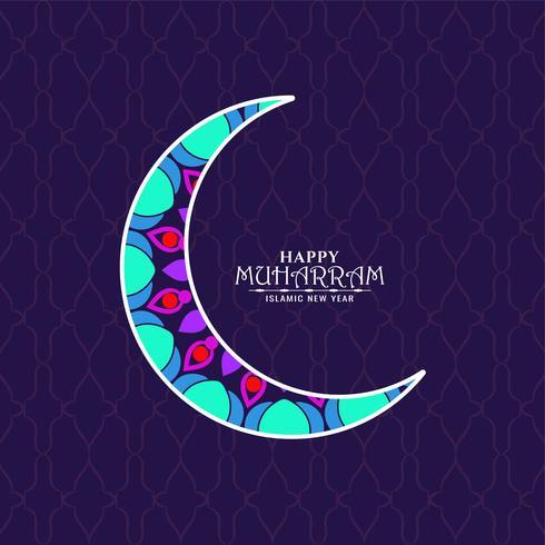 Gelukkig Muharran kleurrijk maanontwerp vector
