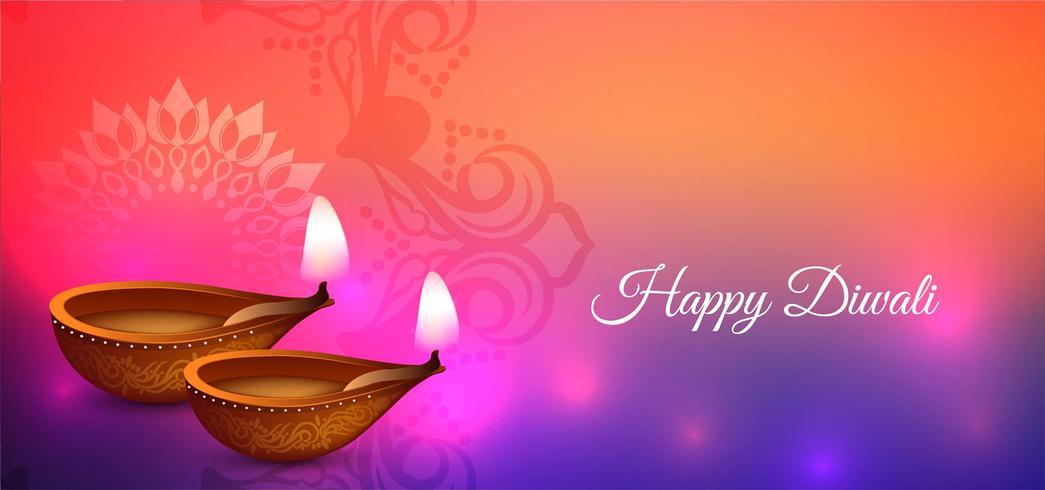 Gelukkig Diwali kleurrijk festivalontwerp vector