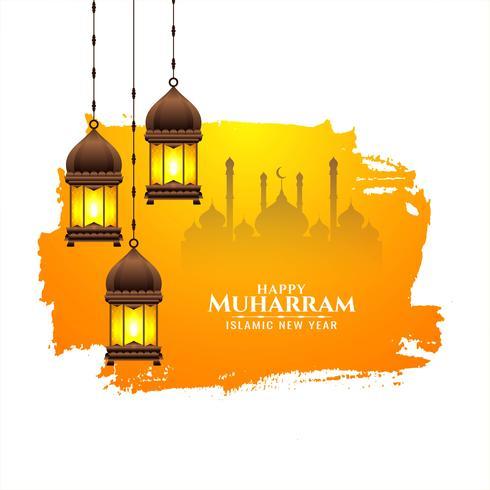 Islamitisch festival Gelukkig Muharran-ontwerp vector