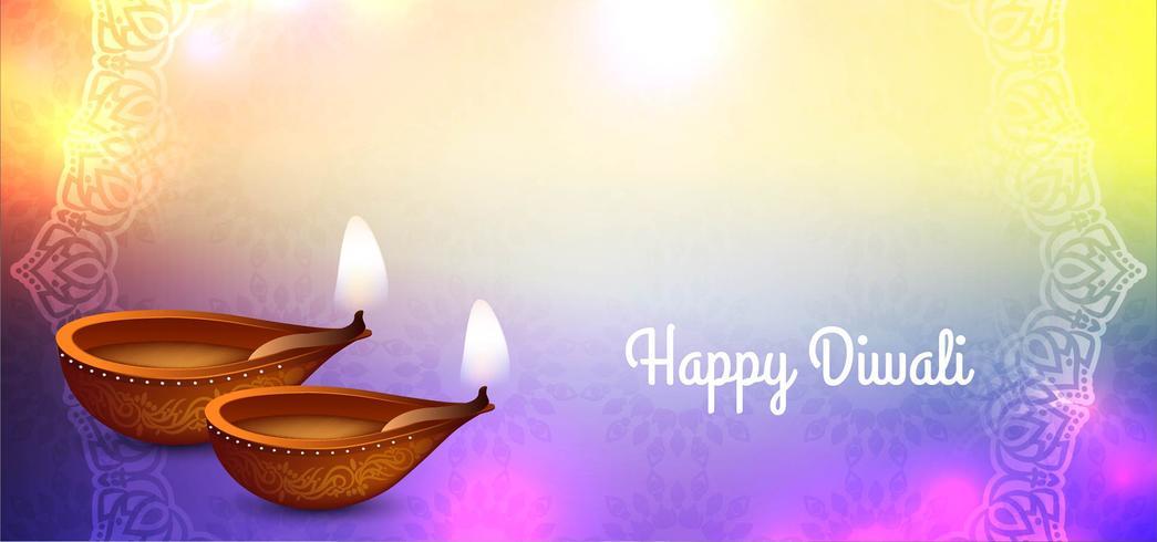 Glanzend kleurrijk Happy Diwali-ontwerp vector