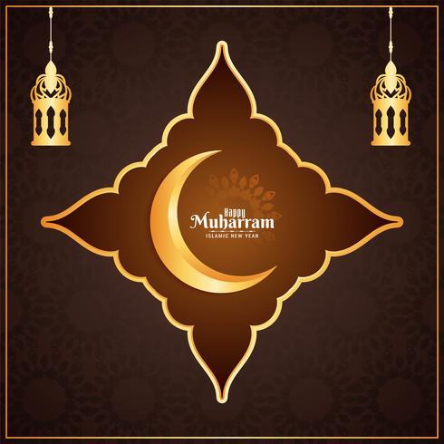 Gelukkig Muharran gouden frame-ontwerp met lantaarns vector
