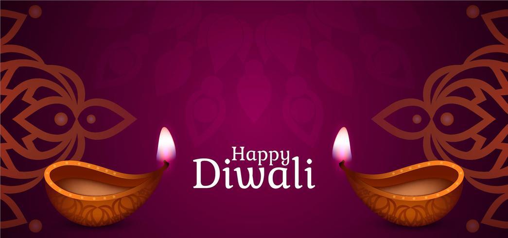 Gelukkig Diwali paars ontwerp vector