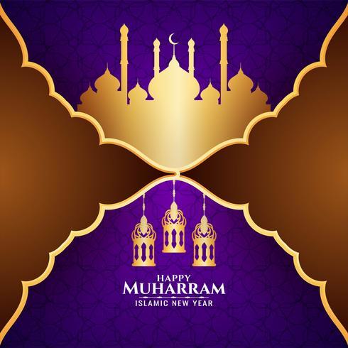Gelukkig Muharran violet ontwerp met gouden moskee vector
