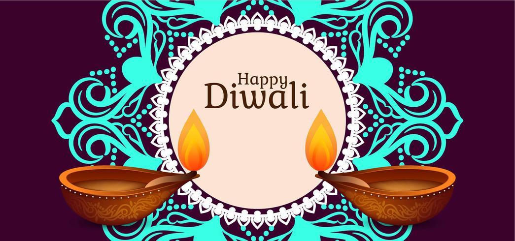 Indisch festival Gelukkig Diwali-ontwerp vector