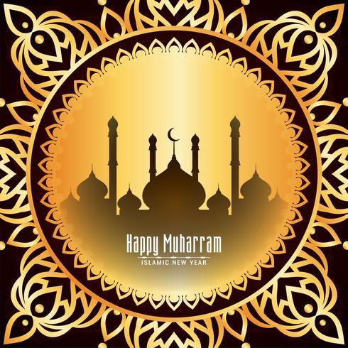 Gelukkig Muharran gouden frame hijri jaarontwerp vector