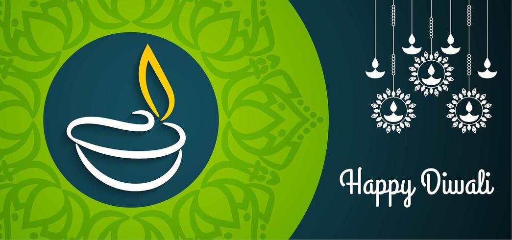 Mooi groen en blauw Happy Diwali-ontwerp vector