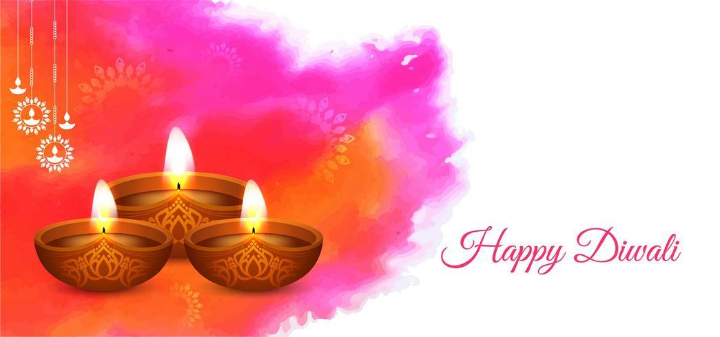 Gelukkig Diwali-waterverfontwerp vector