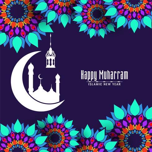 Gelukkig Muharran decoratief kleurrijk islamitisch ontwerp vector