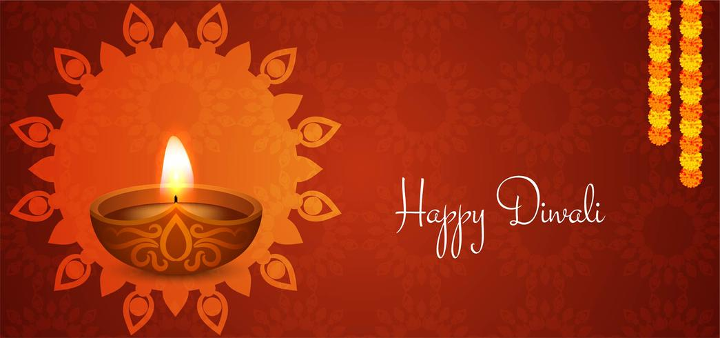 rood Happy Diwali-ontwerp vector