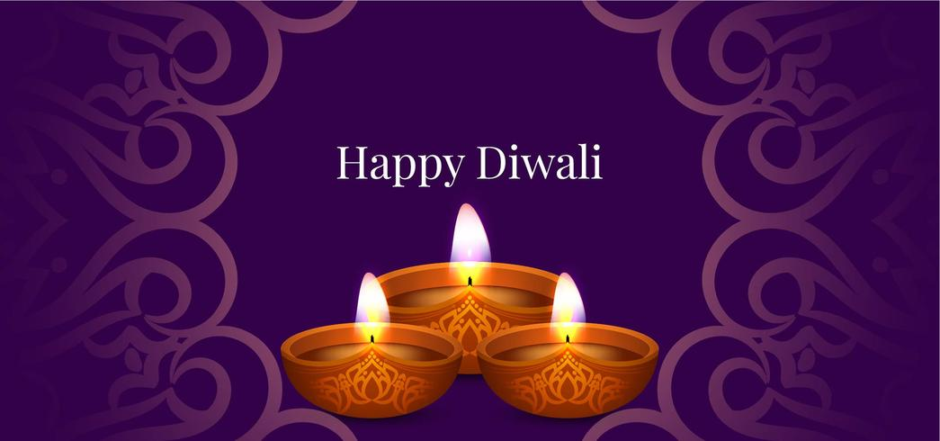 Gelukkige Diwali decoratieve paarse banner vector