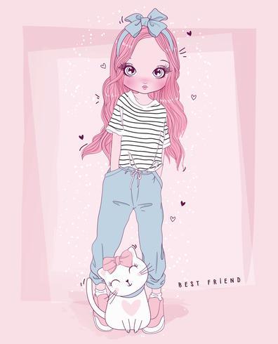 Hand getekend schattig meisje en kat met beste vriend typografie vector