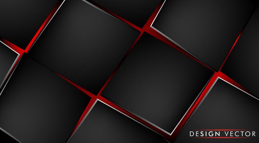 Abstracte achtergrond met zwarte kubus en rood licht vector