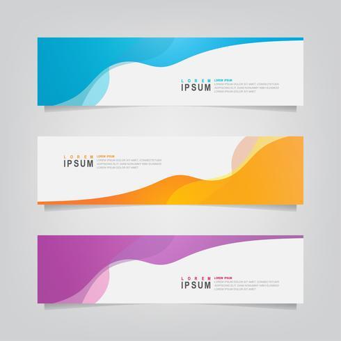 Set van abstracte golvende geometrische banners vector