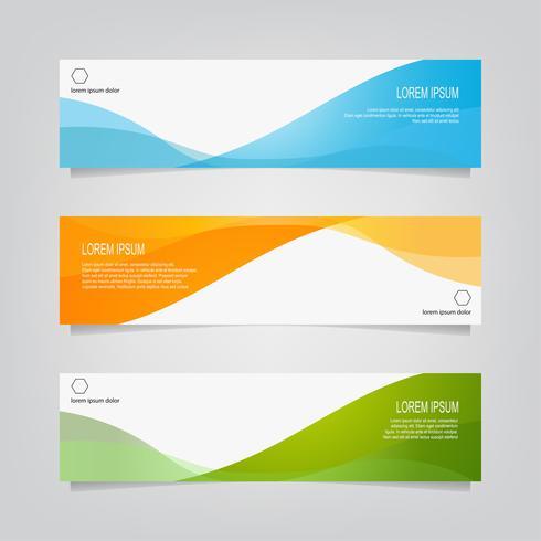 Set van abstracte kleurrijke golvende vormen Banners vector