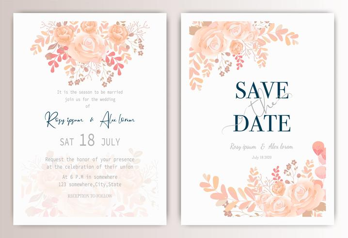bruiloft uitnodigingskaart met kleurrijke bloemen en bladeren. vector