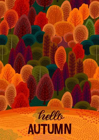 Hallo herfst met herfst bos vector