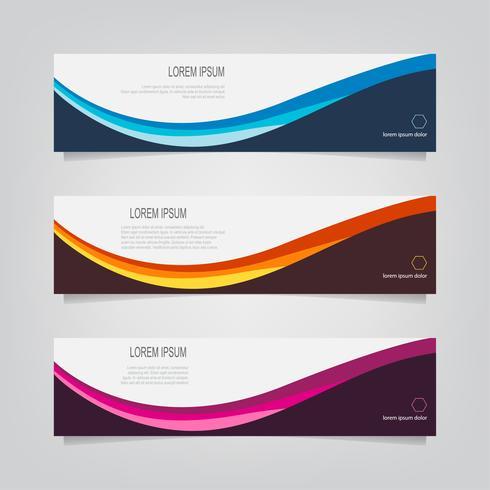 Set van kleurrijke gebogen lijnbanners vector