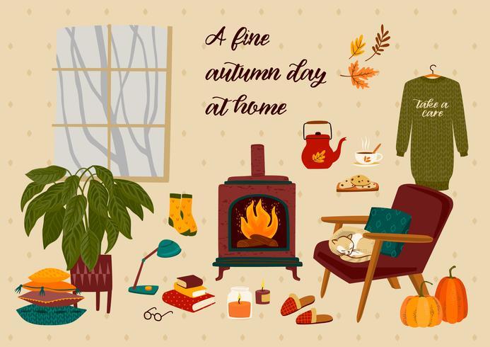 Herfst illustratie met huiselijke schattige dingen vector