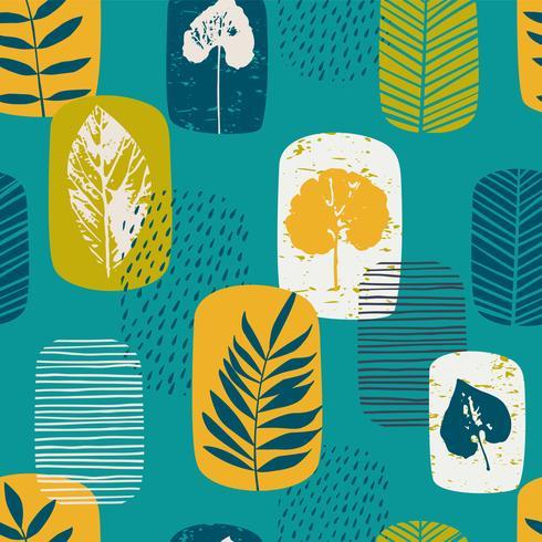 naadloze patroon met bladeren vector