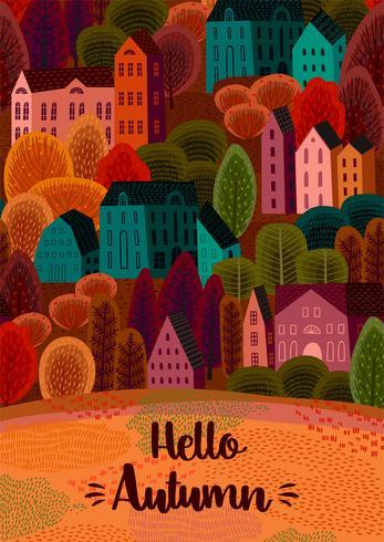 Herfst ontwerp met herfst stad vector
