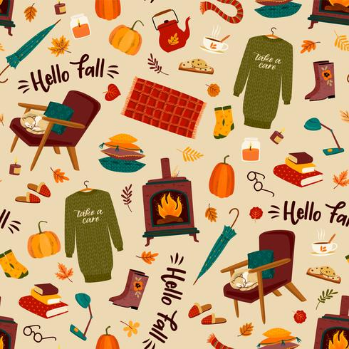 Herfst naadloze patroon met huiselijke schattige dingen vector