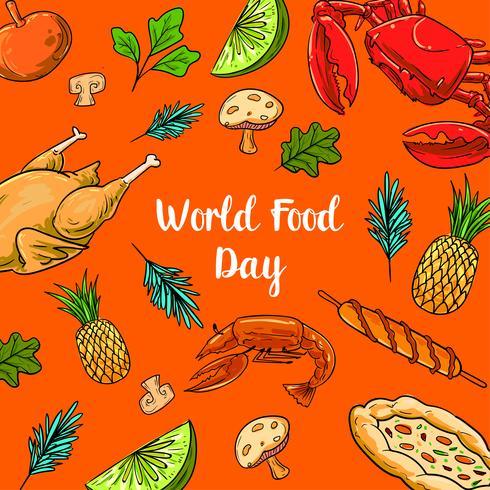 Wereldvoedseldag Met Kleurrijke Vruchten vector
