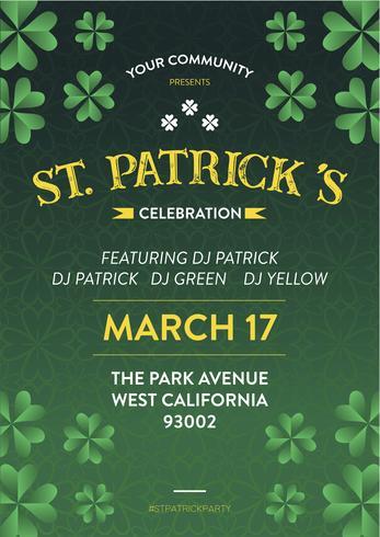 St Patrick Holiday Party Poster en Flyer Invitation vector