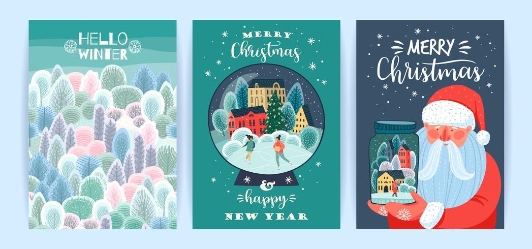 Set van Kerstmis en gelukkig nieuwjaarskaart vector