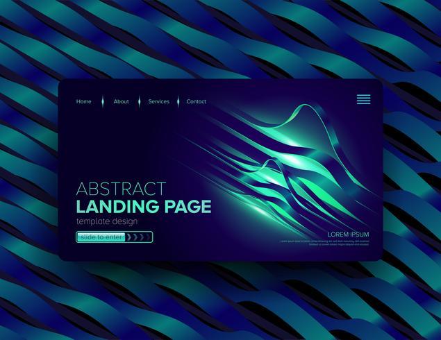 Abstract landingspaginaontwerp met groene en blauwe linten vector