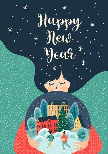 Gelukkig Nieuwjaar illustratie kaart vector