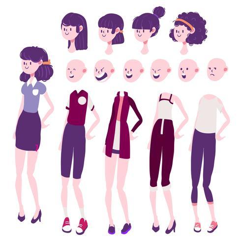 meisje karakter ontwerp emotie, haar en kleding set vector