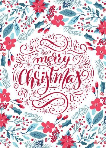Merry Christmas kalligrafische letters bloemmotief vector