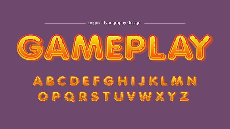 Oranje glanzende cartoon typografie vector