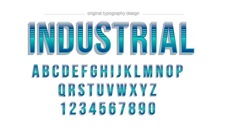 Blauw gestreepte gradiënt vet typografie vector