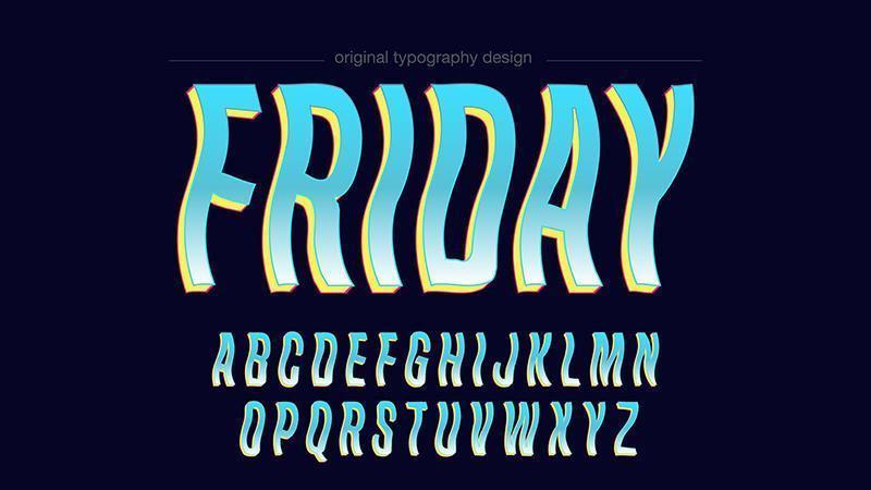 Golvende cartoon strips blauwe typografie vector