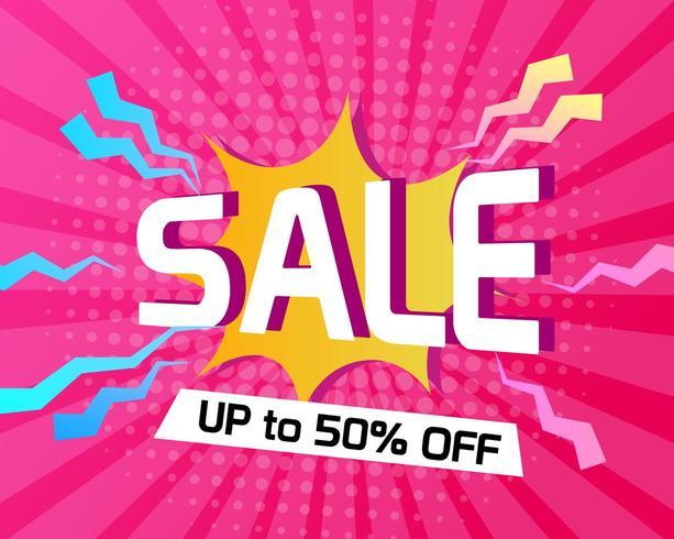 Abstracte roze halftone achtergrond met verkooptitel vector
