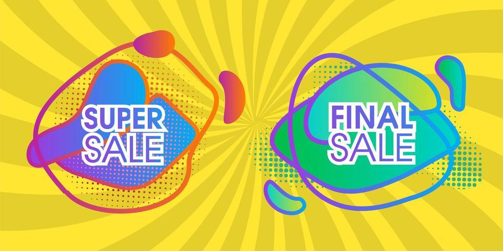 Super verkoop abstract ontwerp met gele levendige banner vector