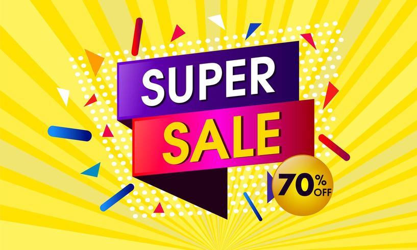 Abstract super verkoopontwerp met gele zonnestraalachtergrond vector