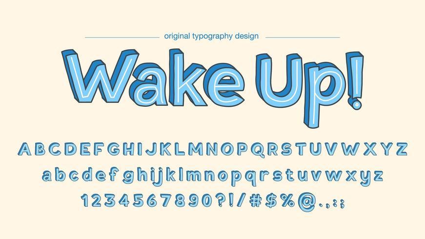 Vet cartoon kinderen blauwe typografie vector
